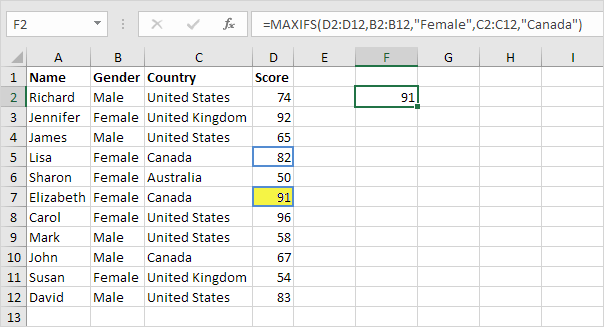 MaxIfs Function in Excel, Multiple Criteria