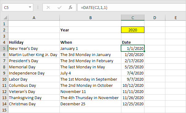 Holidays in Excel